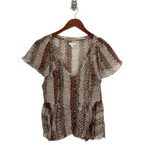 Anthropologie- Odille Brown Feather Silk Blouse 2